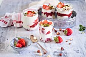 Strawberry, yoghurt, and nut desserts with strawberry and chia seed jam(sugar free)