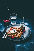 Buttermilk Waffles with Salted Caramel Cream