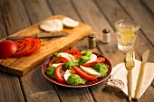Traditional Italian Caprese salad made of sliced tomato, sliced mozzarella and basil leaves on a red patterned plate