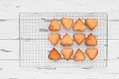 Herzförmige Kekse auf Kuchengitter