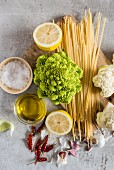 Ingredients for making spaghetti with romanesco