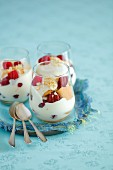 Cream and biscuit dessert with raspberries