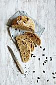No-knead pumpkin bread, sliced