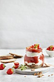 Rhubarb and ginger trifles with strawberries and skyr yoghurt