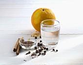 Rum with orange peel and various seasonings