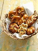 Lye bread rolls in a bread basket