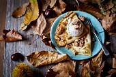 Crêpes with chestnut ice cream