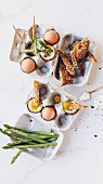 Soft boiled eggs with asparagus and toast