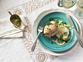 Monkfish in lime and sage butter on risotto