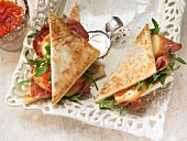Paninis with ham and confit limes