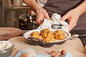 Parsnips pancakes in a pan
