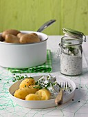 Boiled potatoes (cooked in their skins) with herb quark