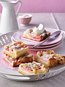 Rhubarb cake with icing sugar and cream
