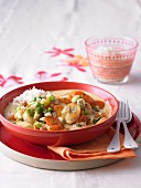 Banana and carrot curry with rice