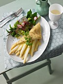 White asparagus crepe and salad