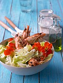 Green salad with shrimps and honey mustard dressing