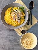 Pumpkin risotto with chicken