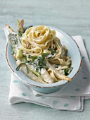 Fried asparagus with wild garlic and ribbon noodles