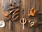 Grilled sausages, grilled meat skewers, and grilled chicken