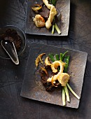 Sole tempura and scallops with spring onions