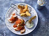 Curry sausages with avocado fries and lime mayonnaise