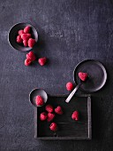 Raspberries on a dark background