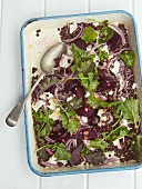 Puy lentil salad with beetroot and soft goat's cheese