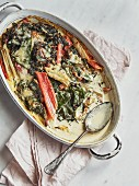 Rainbow chard gratin with ricotta and gruyère