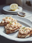 Toast with crab