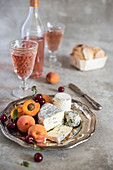 Rose Wine and Cheese Plate