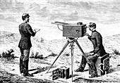 19th Century French army telegraph, illustration