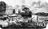 Retting hemp, 19th Century illustration
