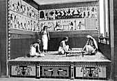 Ancient Egyptian textile workers, illustration
