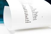 Urine analysis printout