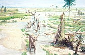 Mesozoic landscape and dinosaurs, illustration
