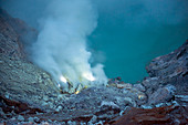 Blue flames of Ijen volcano, Indonesia
