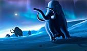 Artwork of Mammoths and Aurora