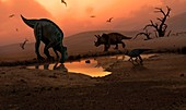 Artwork of dinosaurs at a watering hole