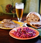 Apple and red cabbage with braised beef, Germany