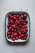 Fresh cherries in a dish