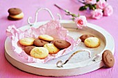 Light and dark biscuits on a white tray