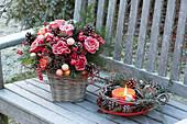 Gefrorener Weihnachtsstrauss aus Rosa ( Rosen ), Pinus ( Kiefer ),