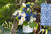 Blau-weißer Duftstrauß aus Narcissus 'Bridal Crown' ( Narzissen )