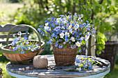 Strauß aus Myosotis ( Vergißmeinnicht ) und Viola cornuta ( Hornveilchen )