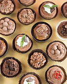 Various cupcakes with chocolate buttercream