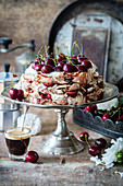 Chocolate pavlova with cherries