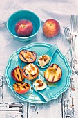 Grilled peaches with peach ice cream