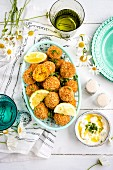 Carrot falafel with tahini yogurt dipping sauce