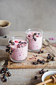 Freshly made blackcurrant drinking yoghurt, sweetened with honey