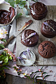 Small Chocolate and Lavender Cakes